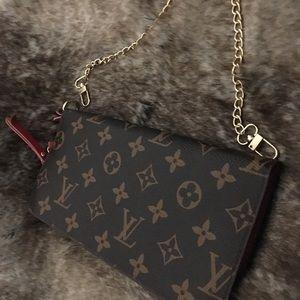 Louis Vuitton clutch wallet gold chain wristlet <3
